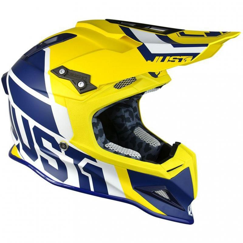 Casque cross Just1 J12 Unit jaune / bleu mat