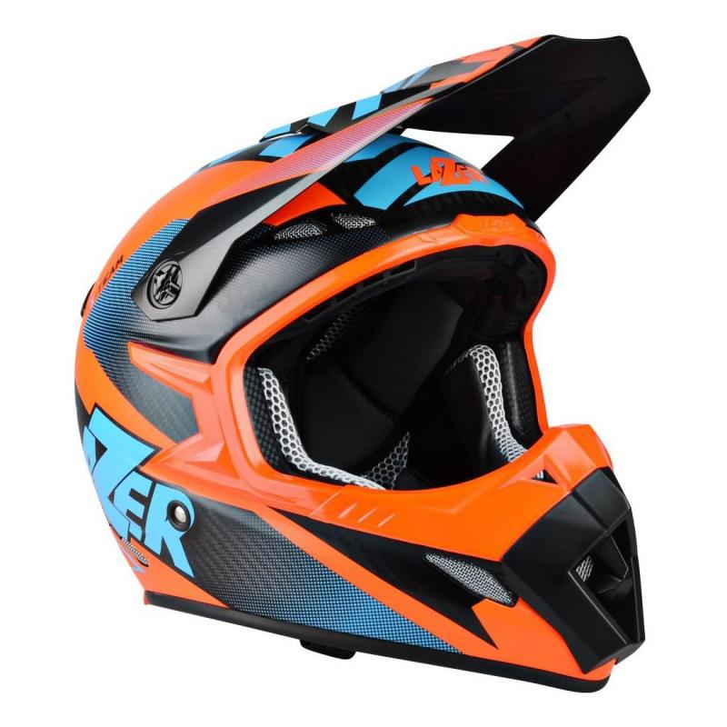 Casque cross Lazer MX8 X-team Carbon carbone/bleu/orange mat