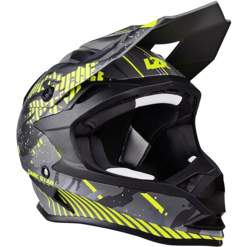 Casque cross Lazer OR1 Dark Star gris/jaune fluo mat