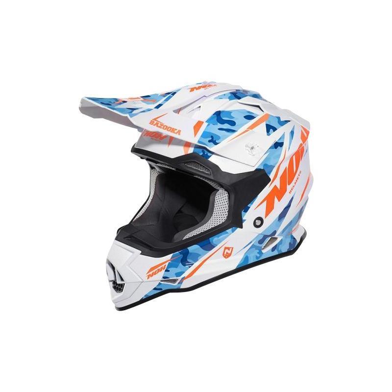 Casque cross Nox N632 Bazooka blanc / bleu / orange