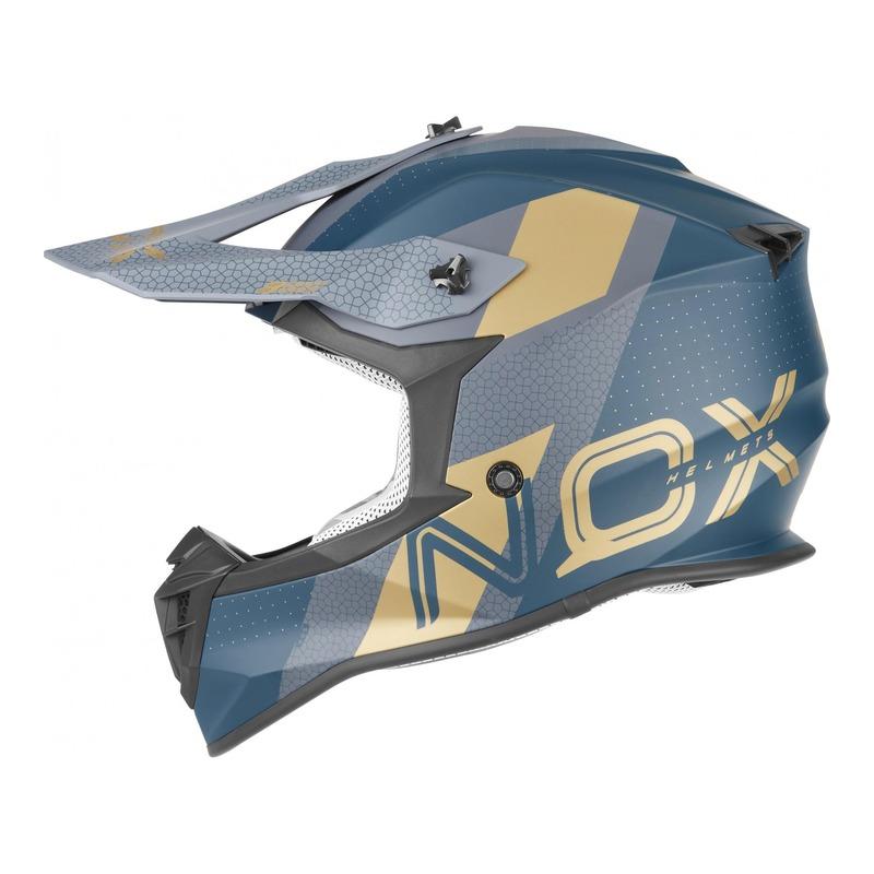 Casque cross Nox N633 Viper mat bleu paon/or