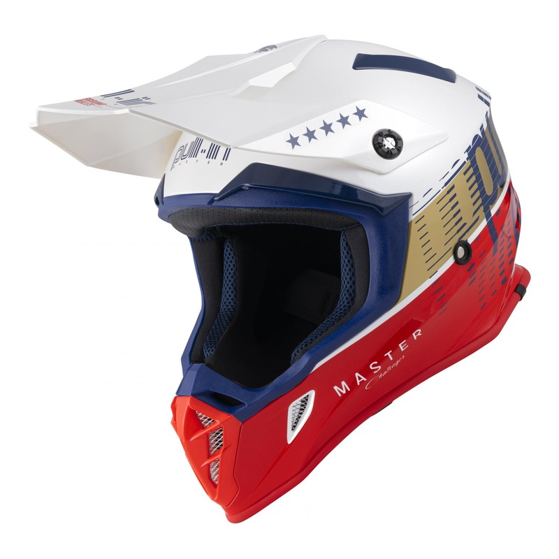 Casque cross Pull-in Master navy/blanc/rouge/or brillant