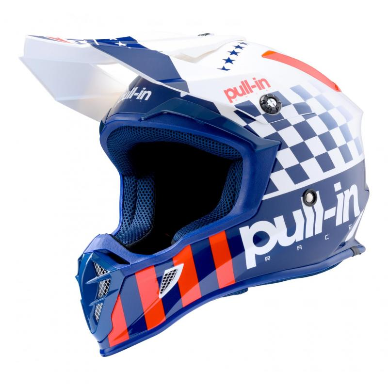 Casque cross Pull-in Master Patriot blanc/bleu/rouge