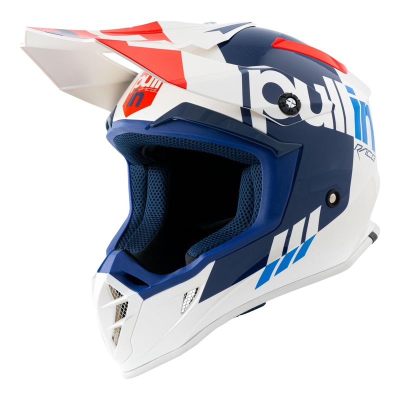 Casque cross Pull-in Race blanc/rouge