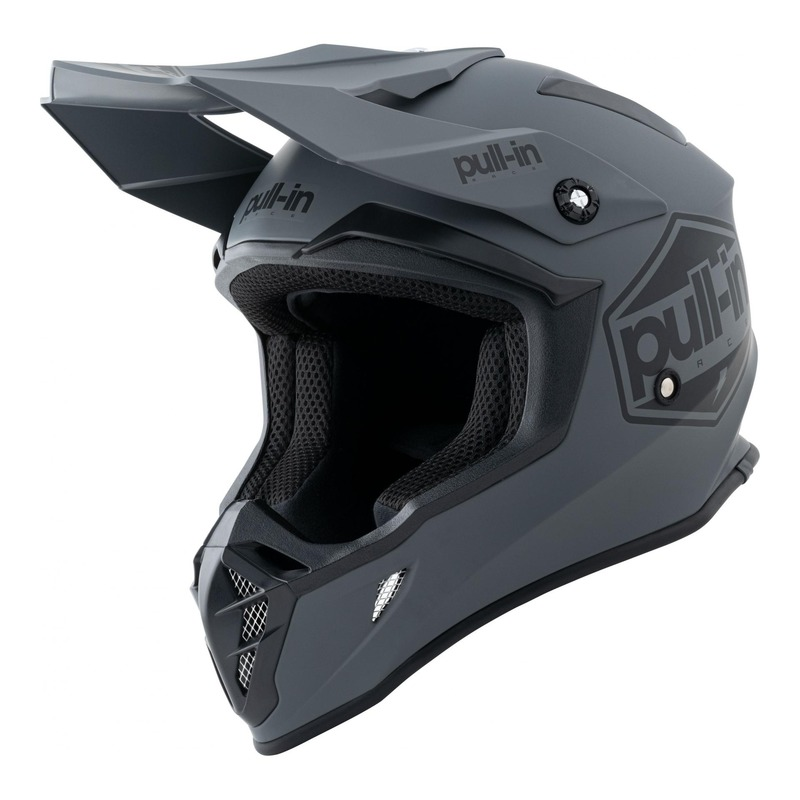 Casque cross Pull-in Solid gris mat