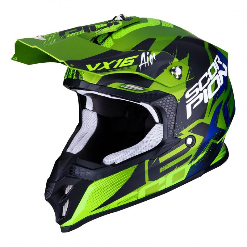 Casque cross Scorpion VX-16 Air Albion Mat vert/noir