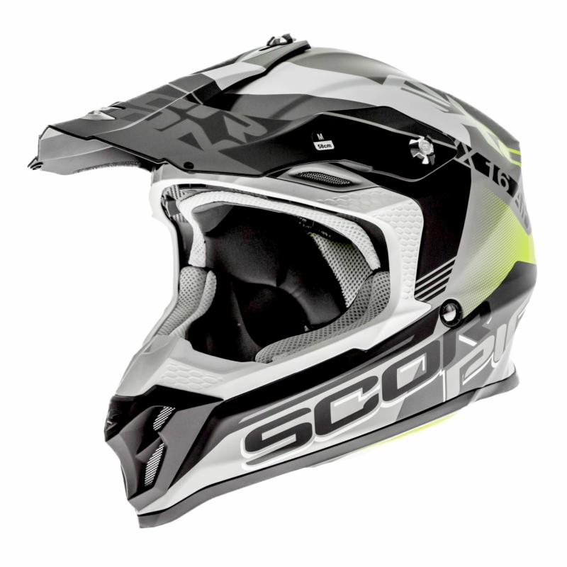 Casque cross Scorpion VX-16 Air Arhus Mat argent/noir/jaune fluo