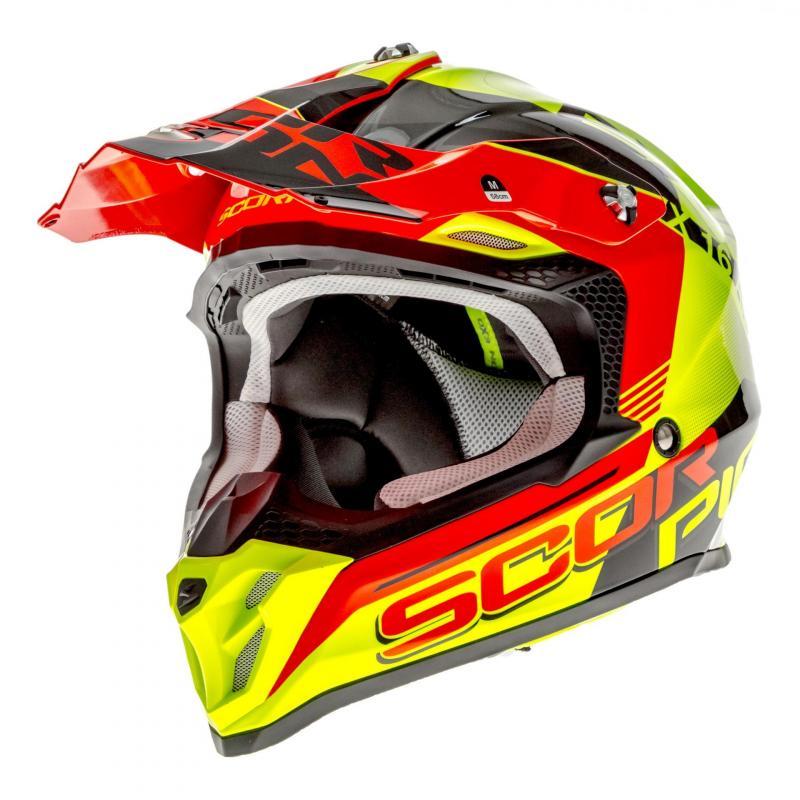 Casque cross Scorpion VX-16 Air Arhus Neon jaune fluo/rouge