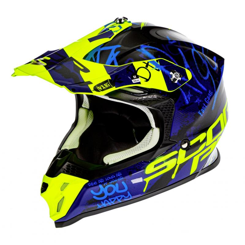 Casque cross Scorpion VX-16 Air Oration noir/bleu/jaune fluo