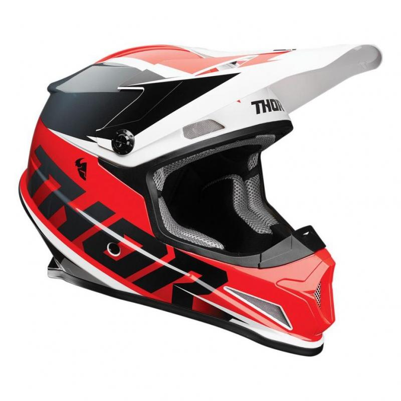 Casque cross Thor Sector Fader rouge/noir brillant