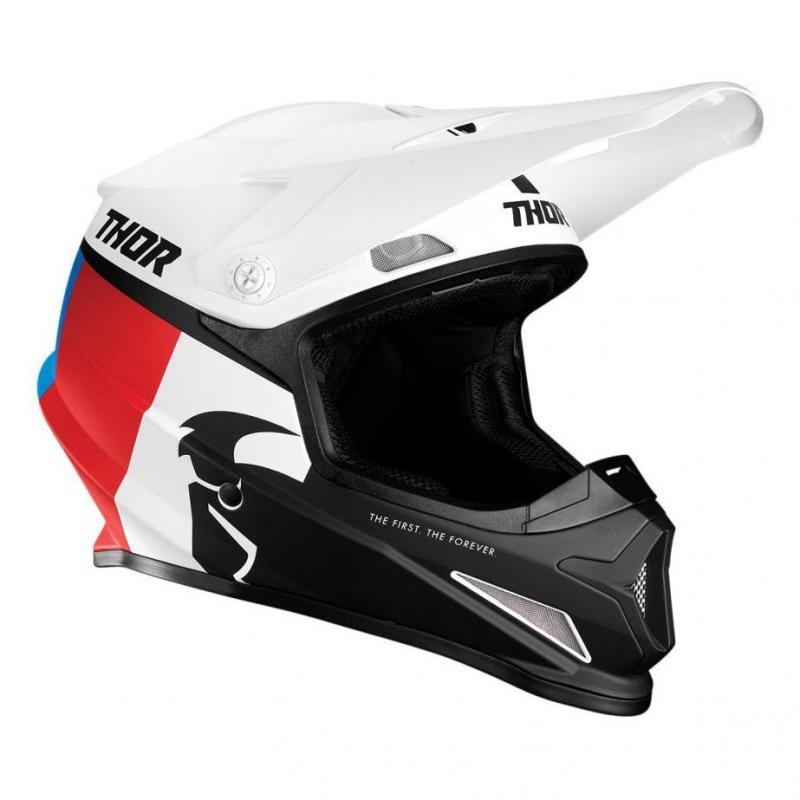 Casque cross Thor Sector Racer blanc/rouge/bleu mat