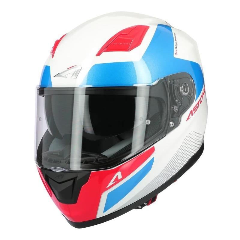 Casque intégral Astone GT900 Race blanc/bleu/rouge brillant