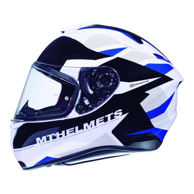 Casque intégral MT Helmet Targo Enjoy bleu-blanc nacré