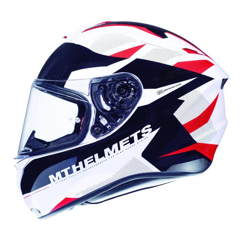 Casque intégral MT Helmet Targo Enjoy rouge-blanc nacré