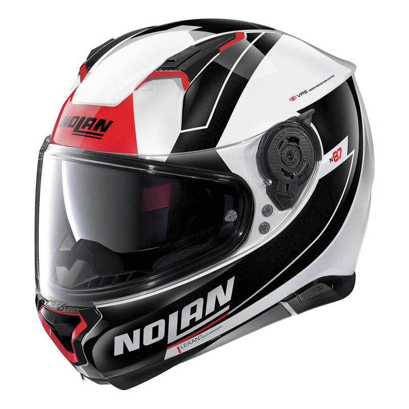 Casque intégral Nolan N87 Skilled N-Com Métal blanc/rouge