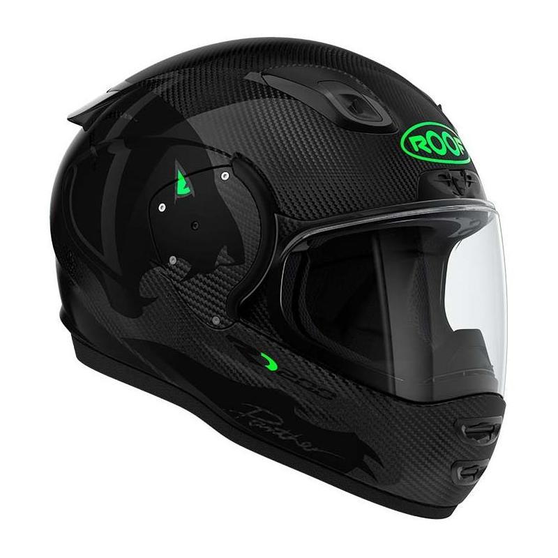 Casque intégral Roof Ro200 Carbon Panther noir/vert fluo