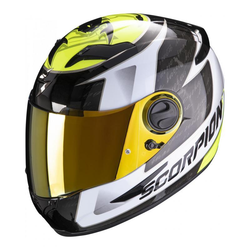 Casque intégral Scorpion Exo-490 Tour blanc/jaune fluo