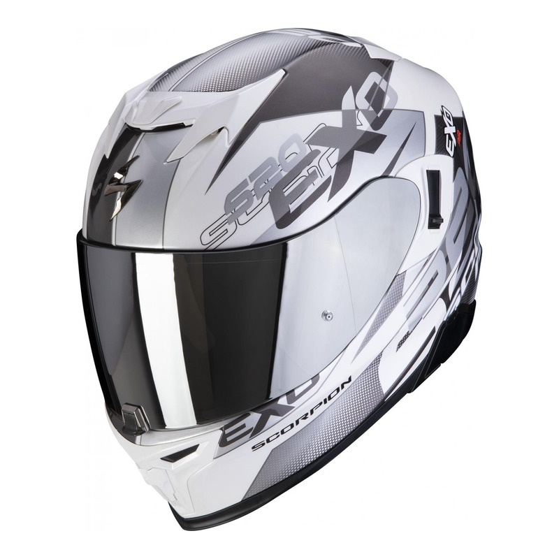 Casque intégral Scorpion EXO-520 Air Cover blanc/argent