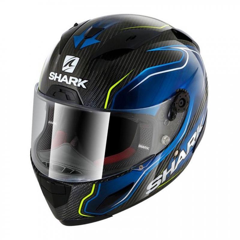 Casque intégral Shark RACE-R PRO CARBON GUINTOLI carbone/bleu/jaune