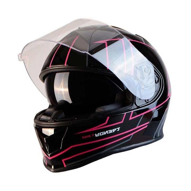 Casque intégral Trendy T-602 Spider noir / rose verni