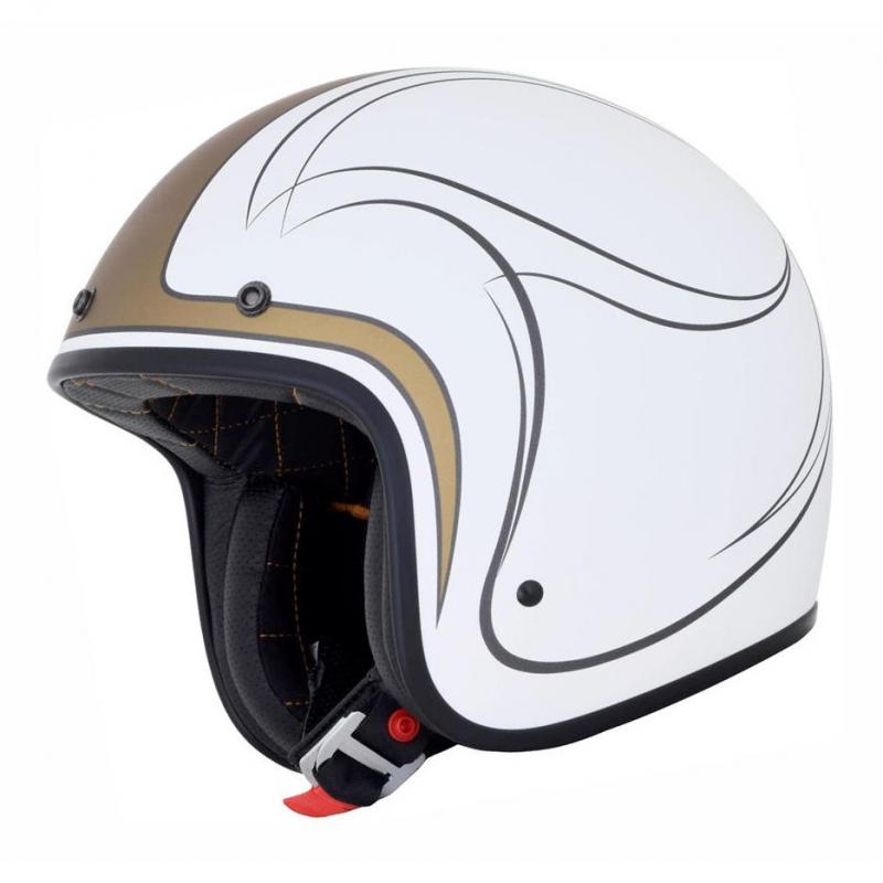 Casque jet AFX FX76 CLAYMORE blanc/or mat