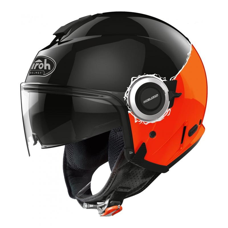 Casque jet Airoh Helios Fluo noir/orange brillant