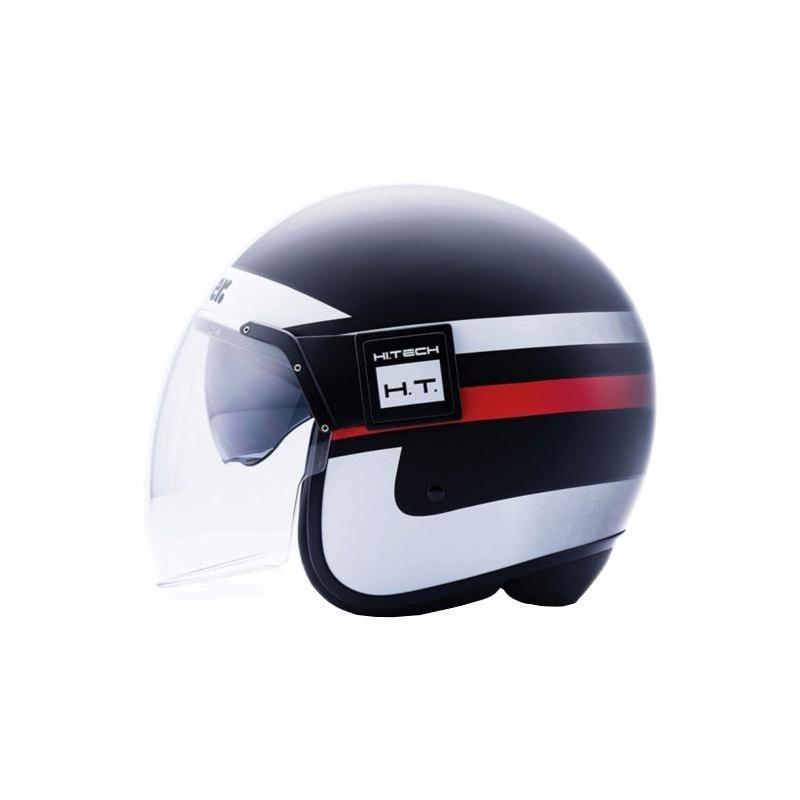 Casque jet Blauer POD Stripes noir/blanc/rouge mat