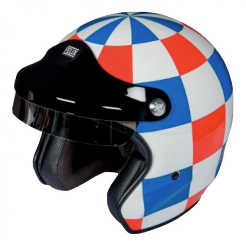 Casque jet Felix Motocyclette Grand prix de France bleu/blanc/rouge