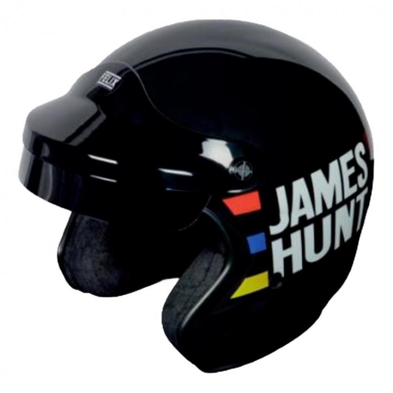Casque jet Felix Motocyclette James Hunt Replica noir/triples bandes