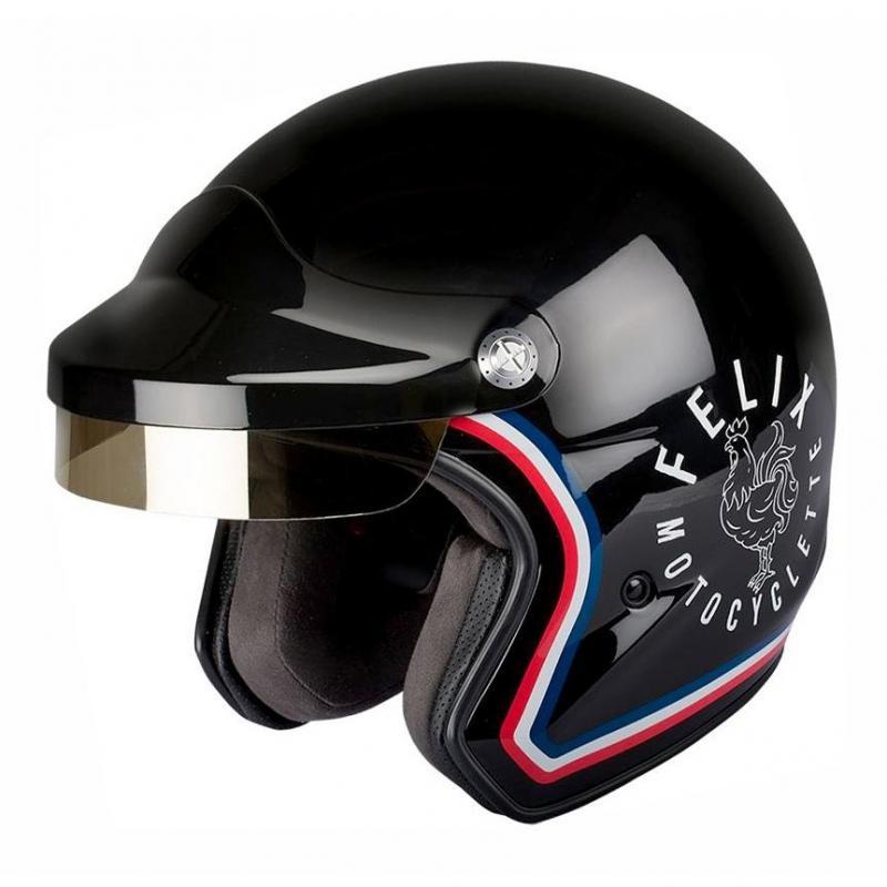 Casque jet Felix Motocyclette ST520 Signature noir