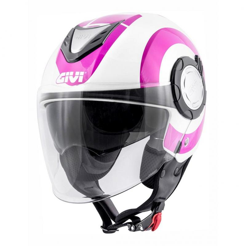 Casque jet Givi 12.4 Future Big Lady rose/blanc