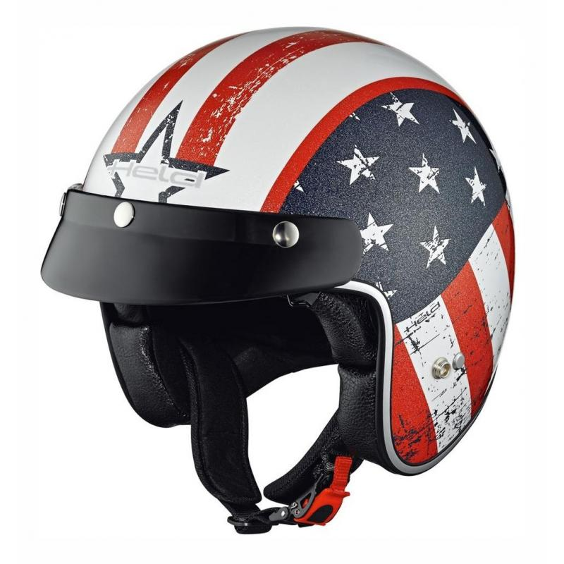 Casque jet Held BLACK BOB Design Flag blanc