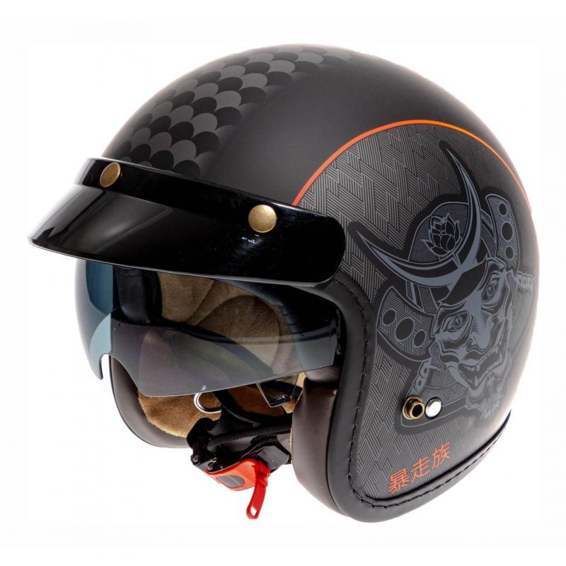 Casque jet Lazer Mambo Biker Samuraï noir/rouge