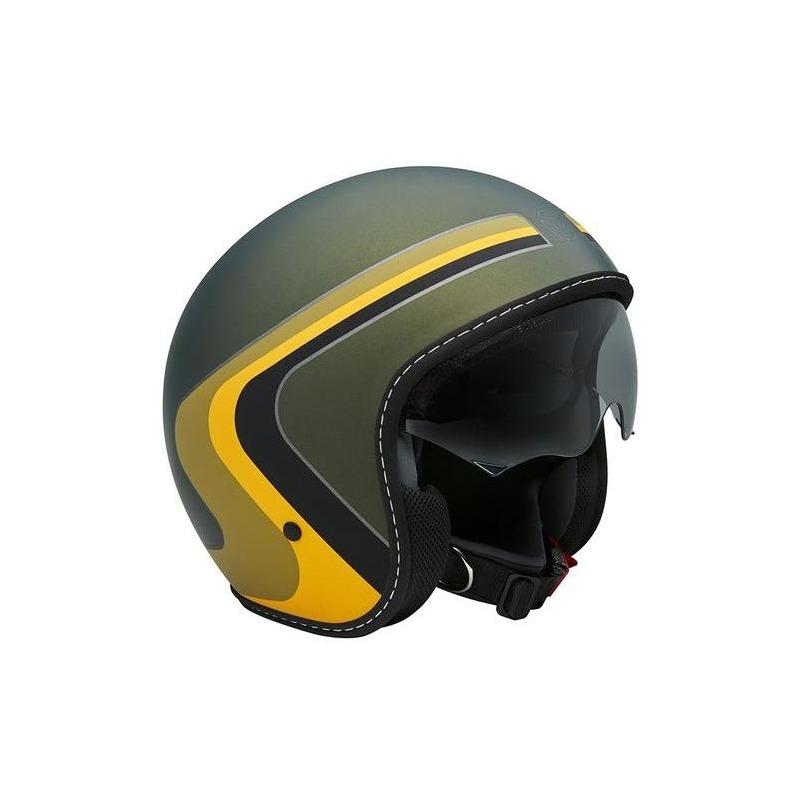 Casque jet Momo Design Eagle vintage vert militaire/noir/jaune/vert