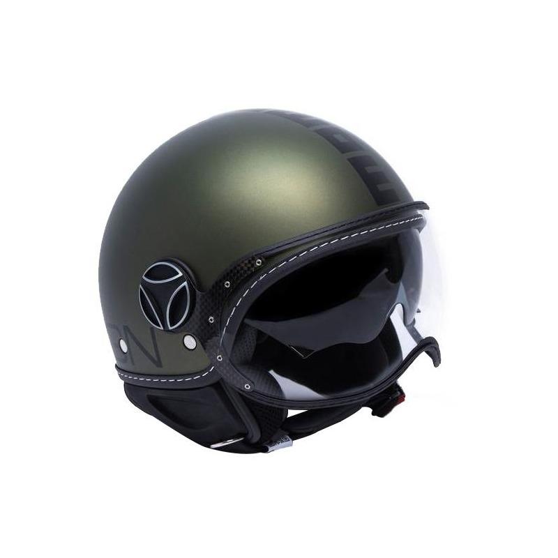 Casque jet Momo Design FGTR Evo vert militaire/ noir metal