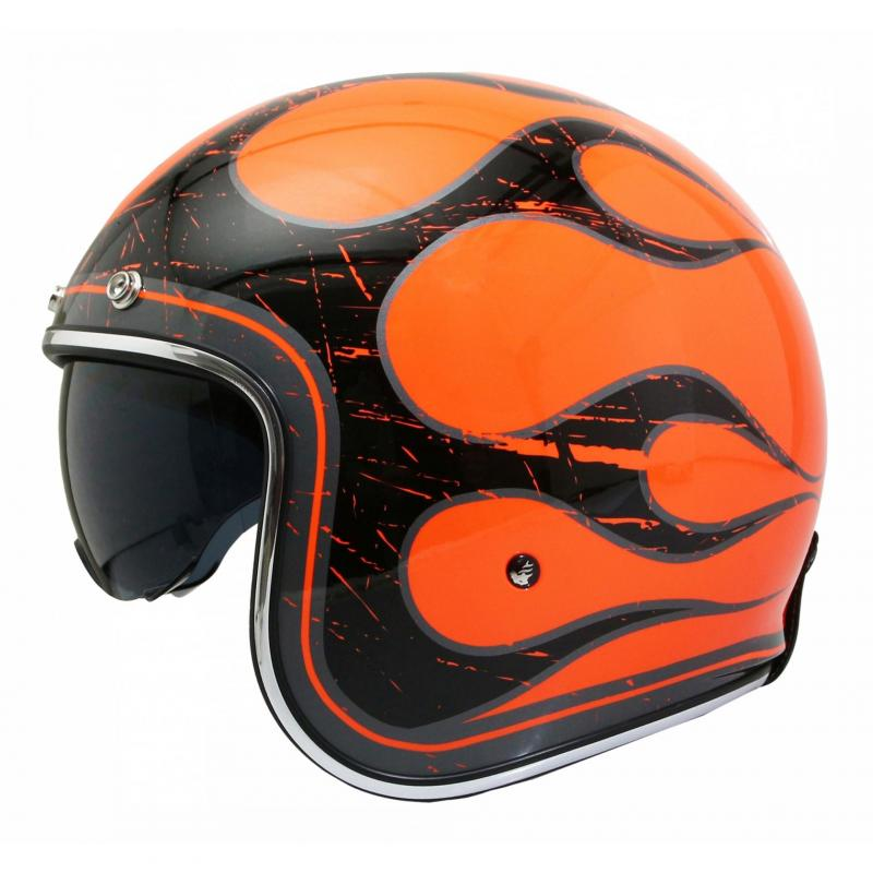 Casque jet MT Helmets Le Mans 2 SV Flaming orange fluo / noir