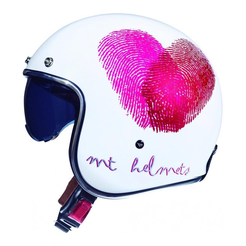 Casque jet MT Helmets Le Mans 2 SV Love blanc-rose nacre brillant