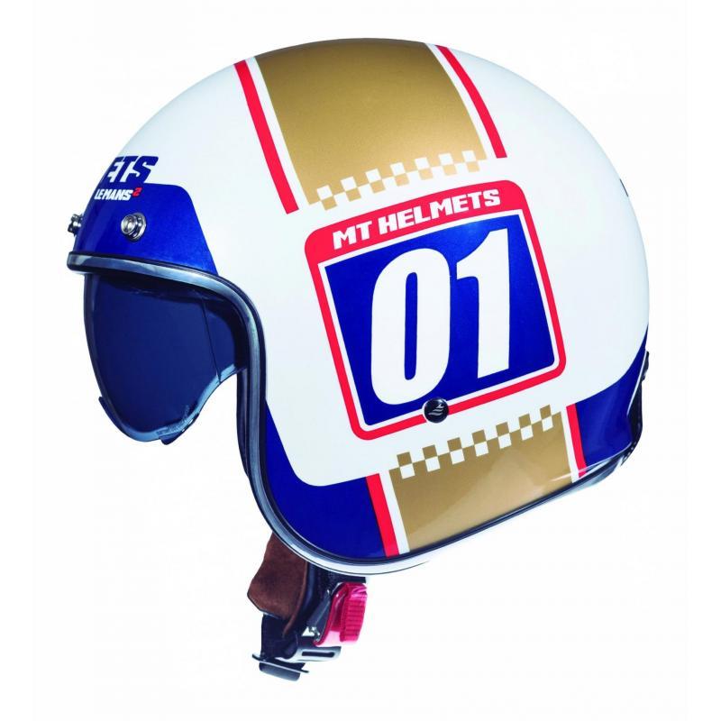 Casque jet MT Helmets Le Mans 2 SV Numberplate blanc - or nacré