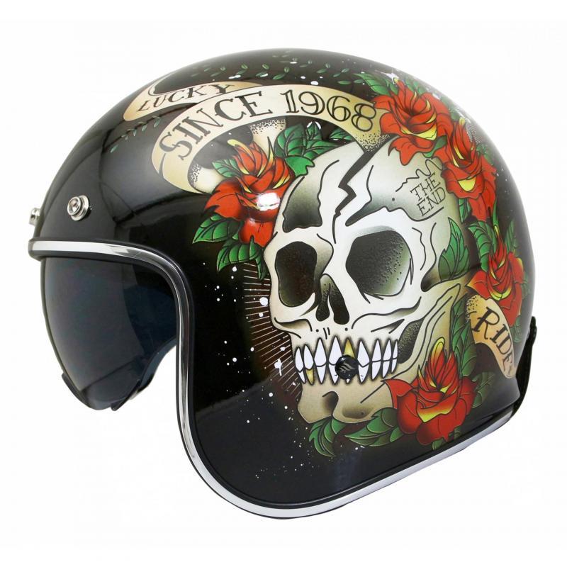 Casque jet MT Helmets Le Mans 2 SV Skull & Roses noir