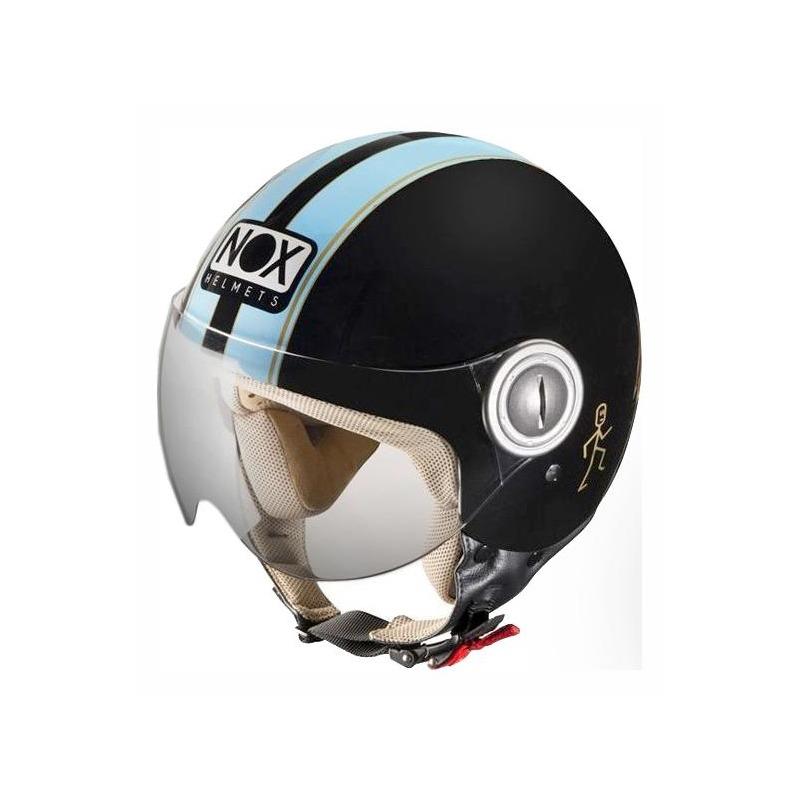 Casque jet Nox N210 bleu/blanc