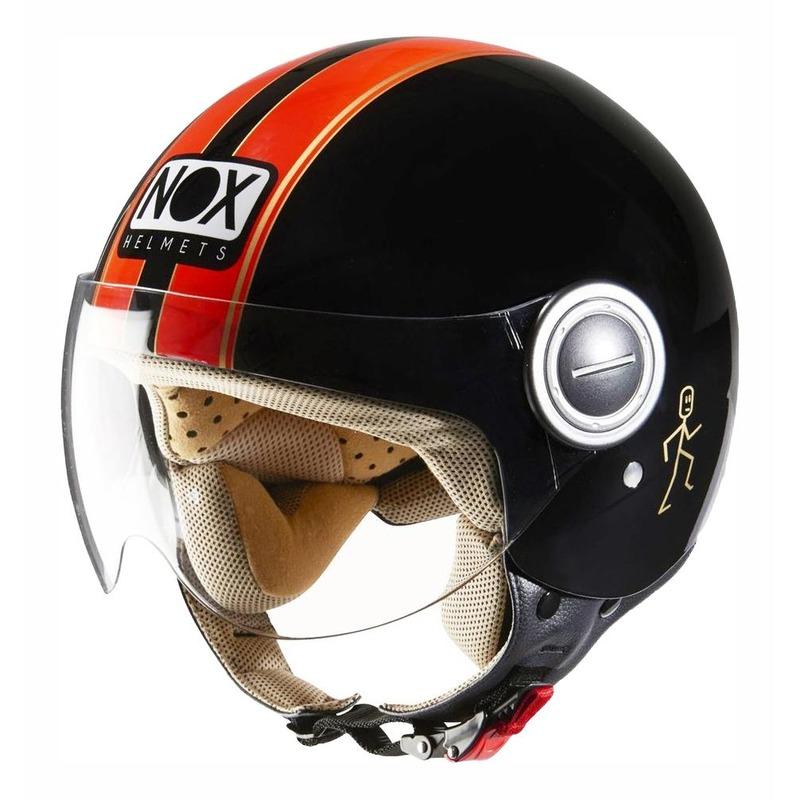 Casque jet Nox N210 noir/orange fluo