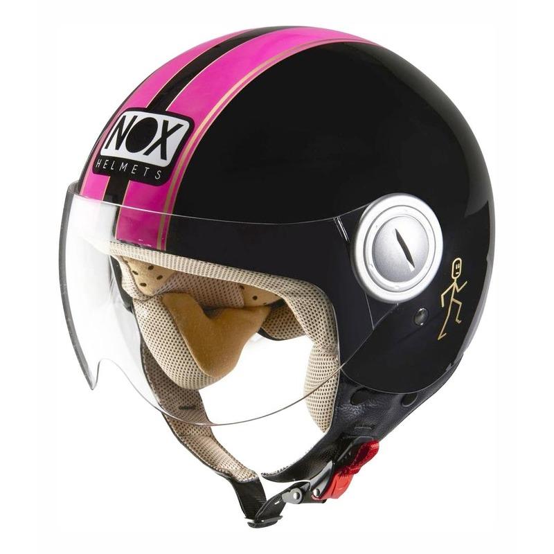 Casque jet Nox N210 noir/rose fluo