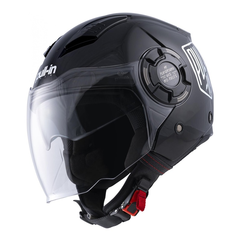 Casque jet Pull-in Open Face holographic noir brillant