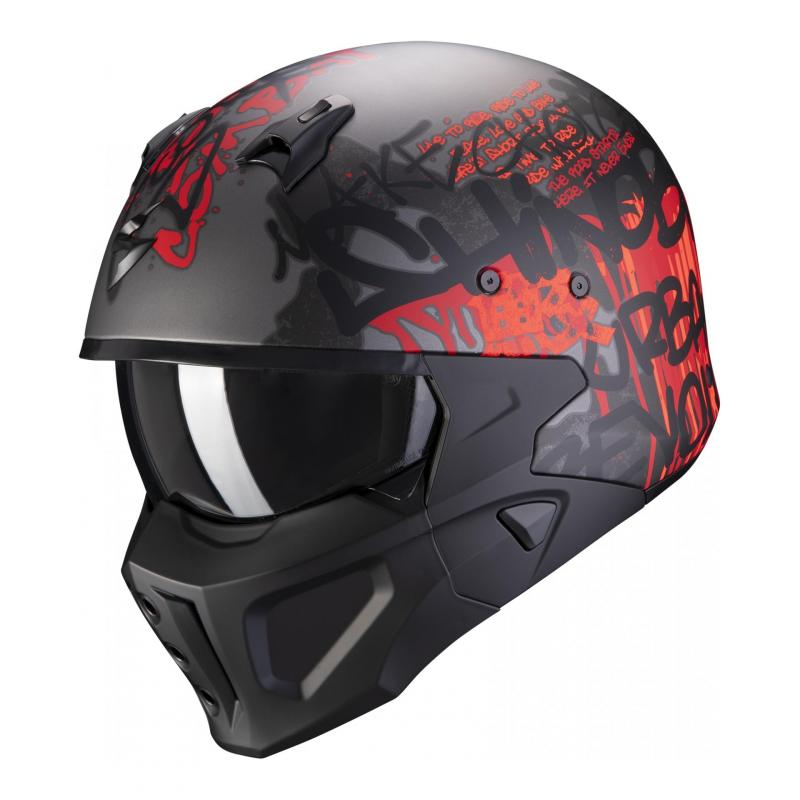 Casque jet Scorpion Covert-X Wall dark argent/rouge mat