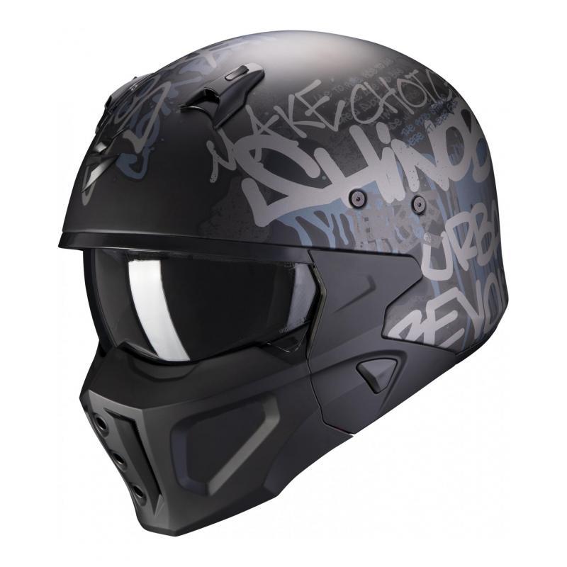 Casque jet Scorpion Covert-X Wall noir/argent mat