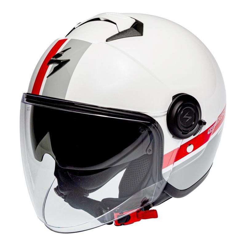 Casque jet Scorpion Exo-City Strada blanc/argent/rouge