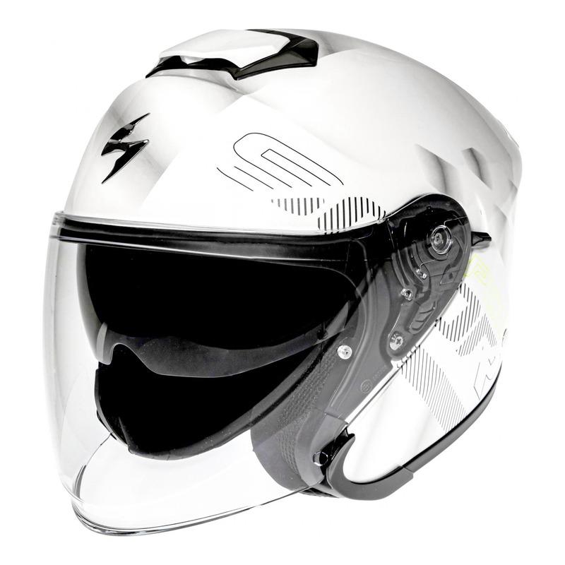 Casque jet Scorpion EXO-S1 Gravity nacré blanc/argent