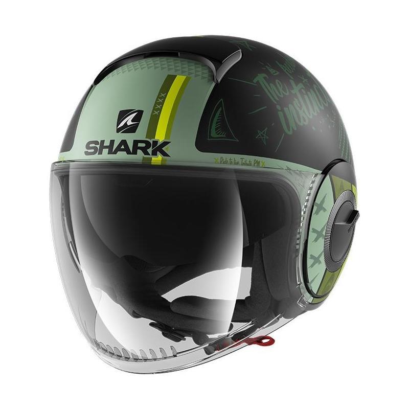 Casque jet Shark Nano Tribute RM Mat noir/vert