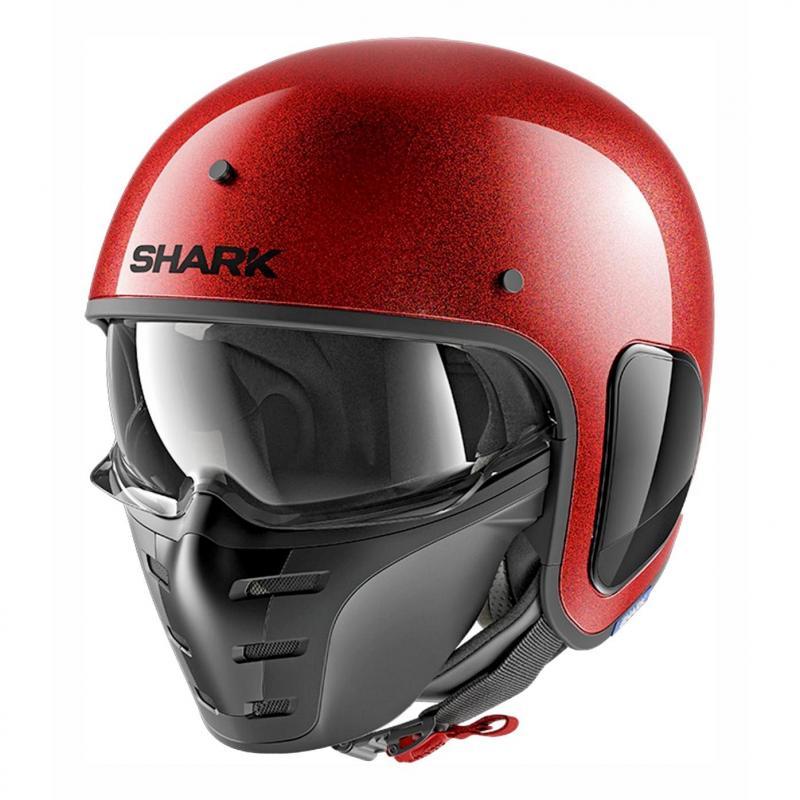 Casque jet Shark S-Drak Blank Glitter rouge