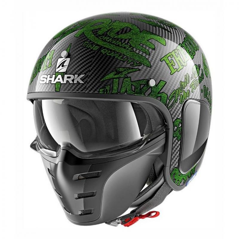 Casque jet Shark S-DRAK FREESTYLE CUP carbone/vert